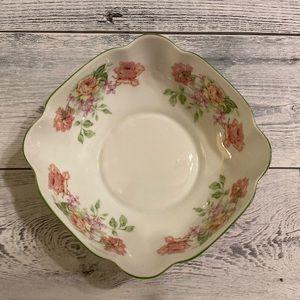 Vintage Limoges bowl.  Green trim w pink roses.